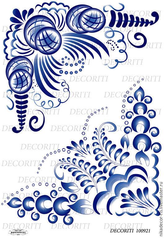 Декупаж и роспись ручной работы. Ярмарка Мастеров - ручная работа. Купить Гжель уголки (D100921) - рисовая бумага, А4. Handmade.