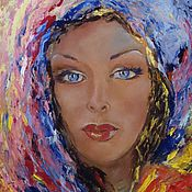 Картины и панно handmade. Livemaster - original item The picture blue-Eyed girl,oil on canvas. Handmade.