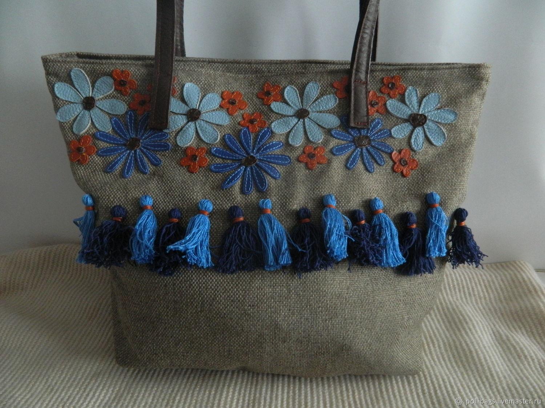 Textile Beach Bag With Pom Poms And Tassels Blue Orange Shop