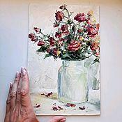 Картины и панно handmade. Livemaster - original item Painting with burgundy roses. Handmade.