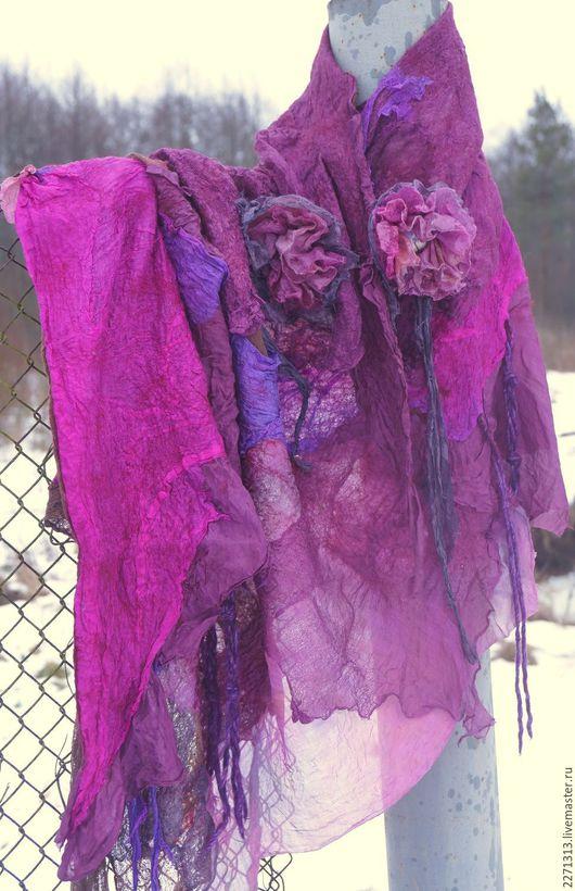 """Шали, палантины ручной работы. Ярмарка Мастеров - ручная работа. Купить шаль """"Фиолет"""". Handmade. Цветочный, сиреневая шаль"""