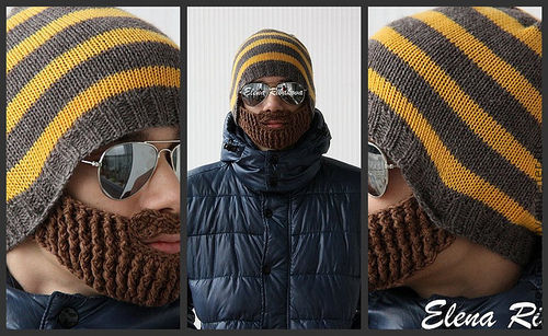 """Для мужчин, ручной работы. Ярмарка Мастеров - ручная работа. Купить Шапка """"Борода"""". Handmade. В полоску, подарок на новый год"""