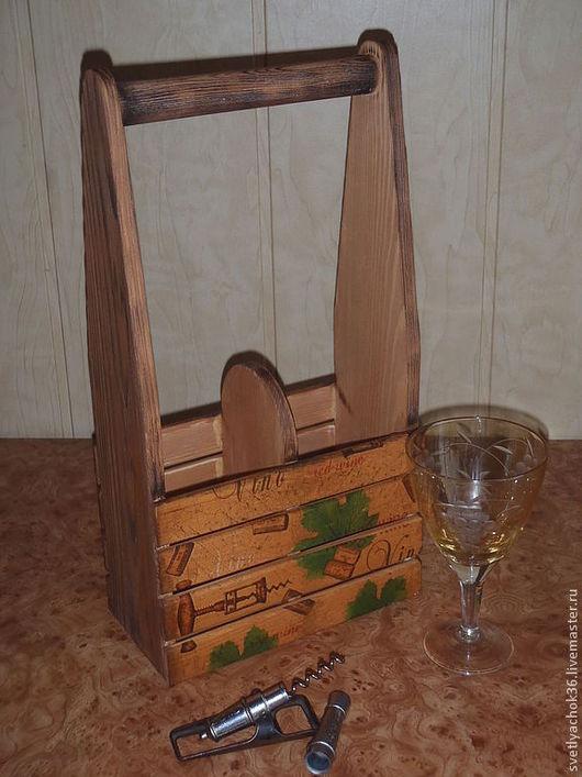 Кухня ручной работы. Ярмарка Мастеров - ручная работа. Купить Короб для вина. Handmade. Коричневый, подарок на день рождения, дерево