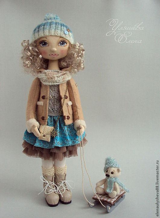 Коллекционные куклы ручной работы. Ярмарка Мастеров - ручная работа. Купить АСЯ. Handmade. Бирюзовый, бежевый, кукла текстильная