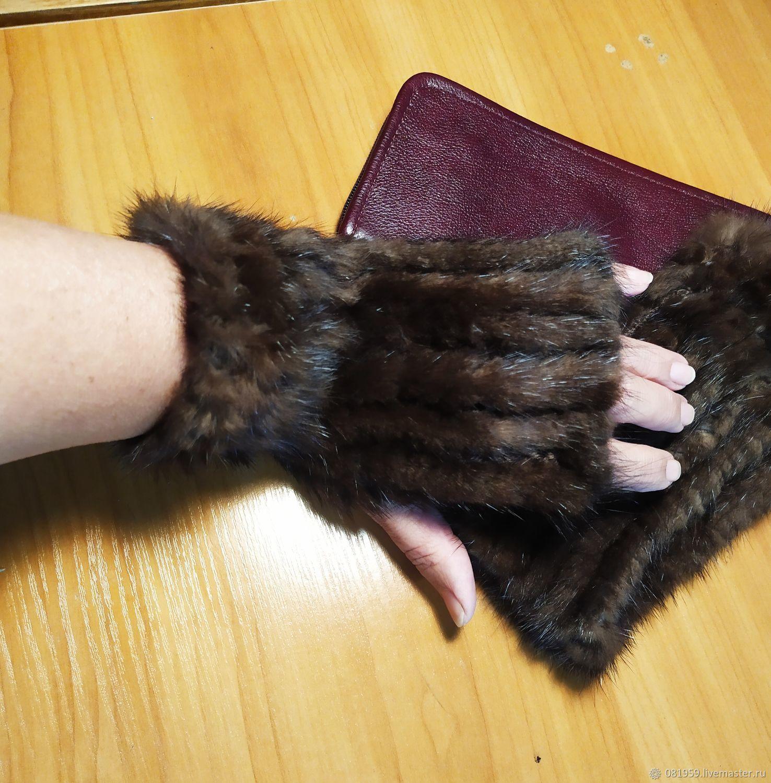 Fingerless gloves: fingerless gloves mink chocolate temptation, Mitts, St. Petersburg,  Фото №1