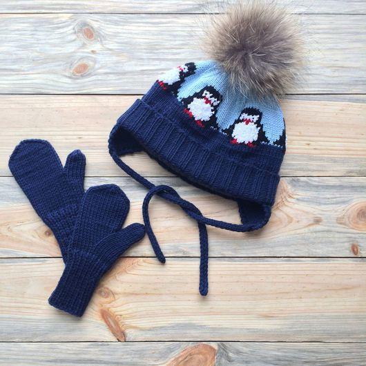 Шапки и шарфы ручной работы. Ярмарка Мастеров - ручная работа. Купить Шапка с пингвинами (комплект с варежками). Handmade. Шапка вязаная