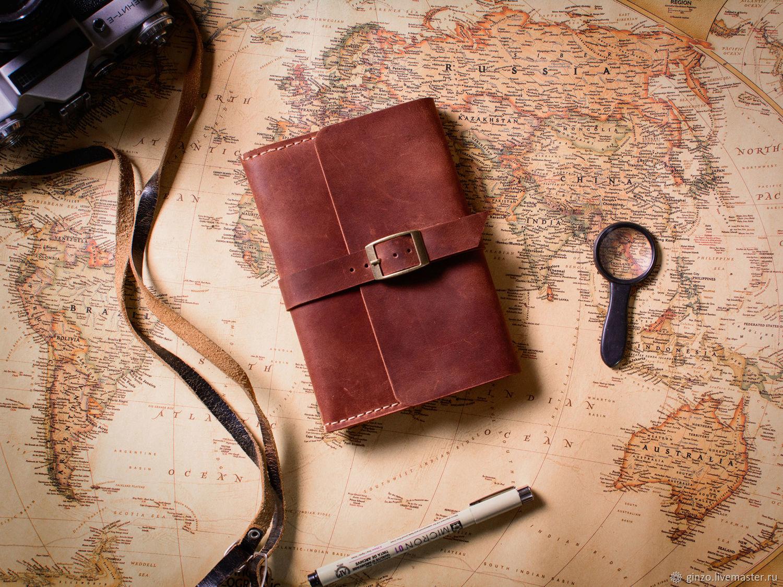 Кожаный блокнот -MIRACLE- формата А6 с карманом цвет Коньяк, Записные книжки, Тула, Фото №1