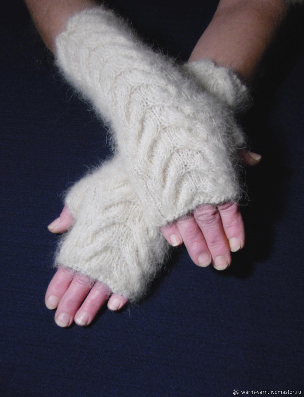 Women's knitted fingerless gloves Snow barkhans, Mitts, Klin,  Фото №1