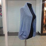 Одежда ручной работы. Ярмарка Мастеров - ручная работа лёгкий кардиган накидка голубого цвета с добавлением пайеток. Handmade.