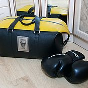 Сумки и аксессуары handmade. Livemaster - original item Sport road leather bag for a boxer or fitnesstrainer. Handmade.