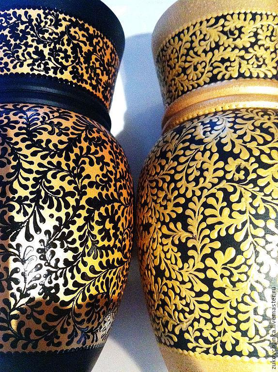 """Вазы """"Дуэт: золотой&черный"""" для сухоцветов. Роспись по дереву"""