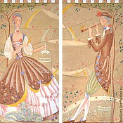Для дома и интерьера ручной работы. Ярмарка Мастеров - ручная работа Шторы-картины с ручной росписью Пастораль в коричневой гамме. Handmade.