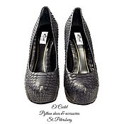 Обувь ручной работы. Ярмарка Мастеров - ручная работа Черные туфли из натурального питона на платформе. Handmade.