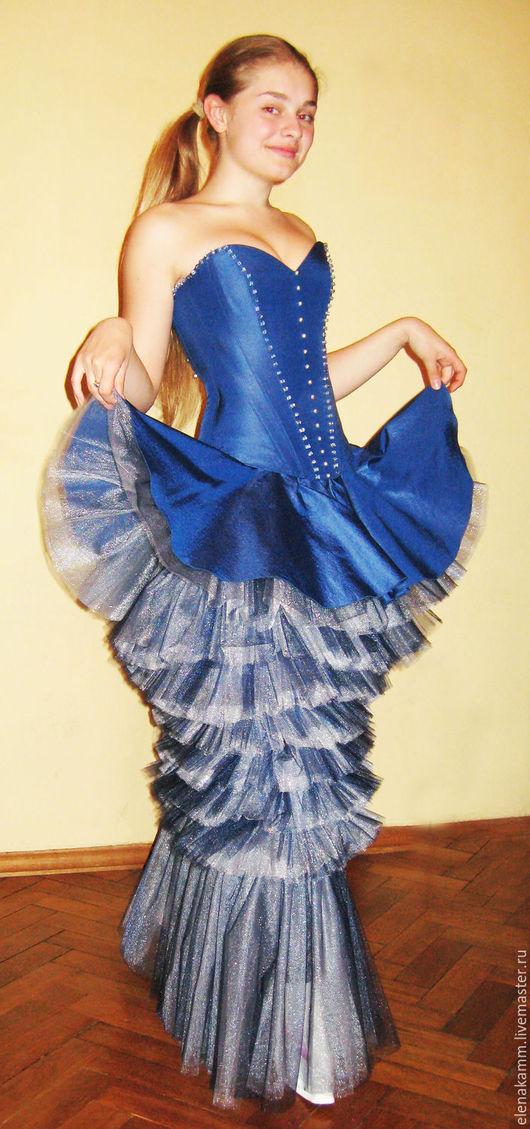 """Платья ручной работы. Ярмарка Мастеров - ручная работа. Купить Платье """"Под небом голубым"""". Handmade. Синее платье, бусины"""