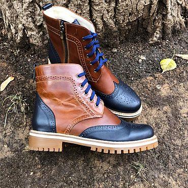 """Обувь ручной работы. Ярмарка Мастеров - ручная работа Ботинки """"Inspektor long"""" коричневый тонир/темно-синий. Handmade."""
