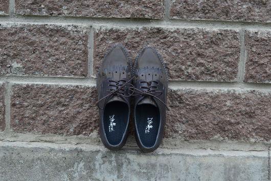 Обувь ручной работы. Ярмарка Мастеров - ручная работа. Купить Туфельки повседневные комбинированные с лапшой. Handmade. Темно-серый