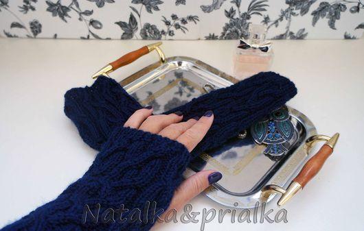 """Варежки, митенки, перчатки ручной работы. Ярмарка Мастеров - ручная работа. Купить Митенки с косами """"Норд"""". Handmade. Тёмно-синий"""