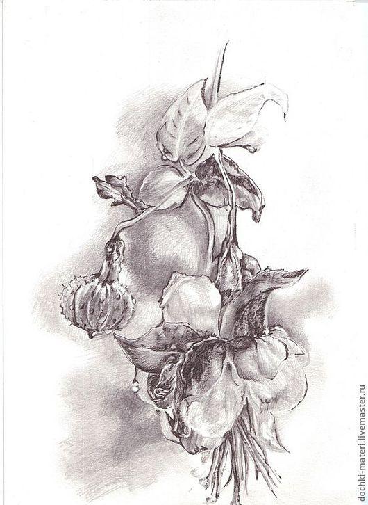 """Картины цветов ручной работы. Ярмарка Мастеров - ручная работа. Купить графическая работа """"Фуксия"""". Handmade. Чёрно-белый, цветок"""