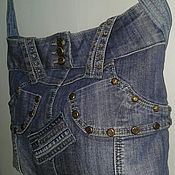 Сумки и аксессуары handmade. Livemaster - original item Denim bag with rivets and rhinestones. Handmade.