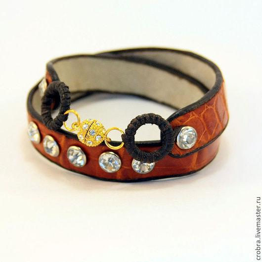 Браслеты ручной работы. Ярмарка Мастеров - ручная работа. Купить Дизайнерский браслет из крокодила. Handmade. Рыжий, кожаный браслет