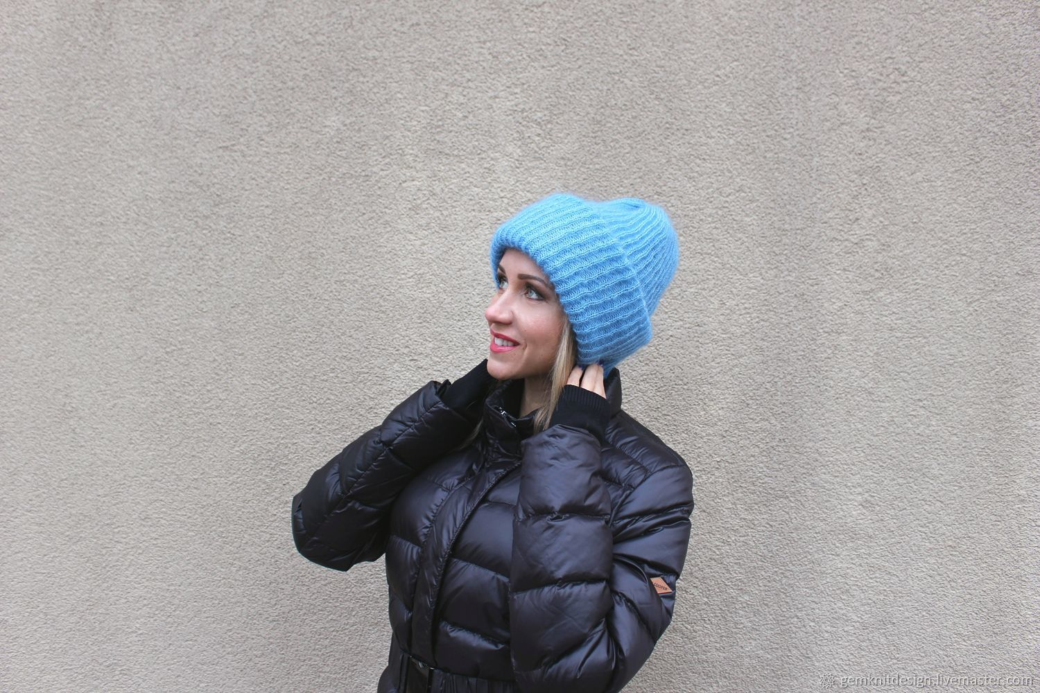 6f2c83c5c77 Oversize mohair hat . Blue winter hat . woman beanie hat – shop ...