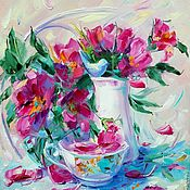 Картины и панно handmade. Livemaster - original item Oil painting on 3D canvas. Tea. Briar. Handmade.