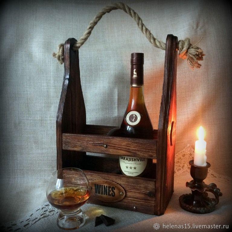 Винный короб Брутальный Короб для вина Декупаж Мини бар Массив сосны