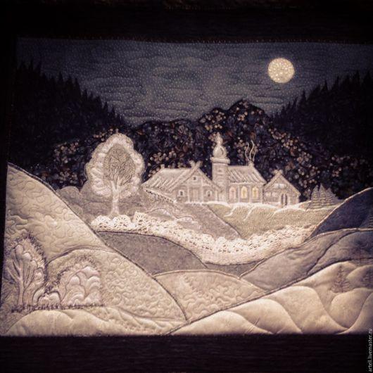 """Текстиль, ковры ручной работы. Ярмарка Мастеров - ручная работа. Купить Картина """"Таежная луна""""из ткани с элементами аппликации,вышивки.. Handmade."""