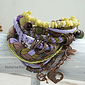 Bead bracelet handmade. Livemaster - original item Boho bracelet with stones and suede