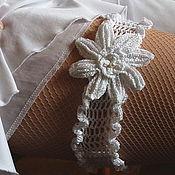 """Свадебный салон ручной работы. Ярмарка Мастеров - ручная работа Подвязка """"Белый цветок"""". Handmade."""