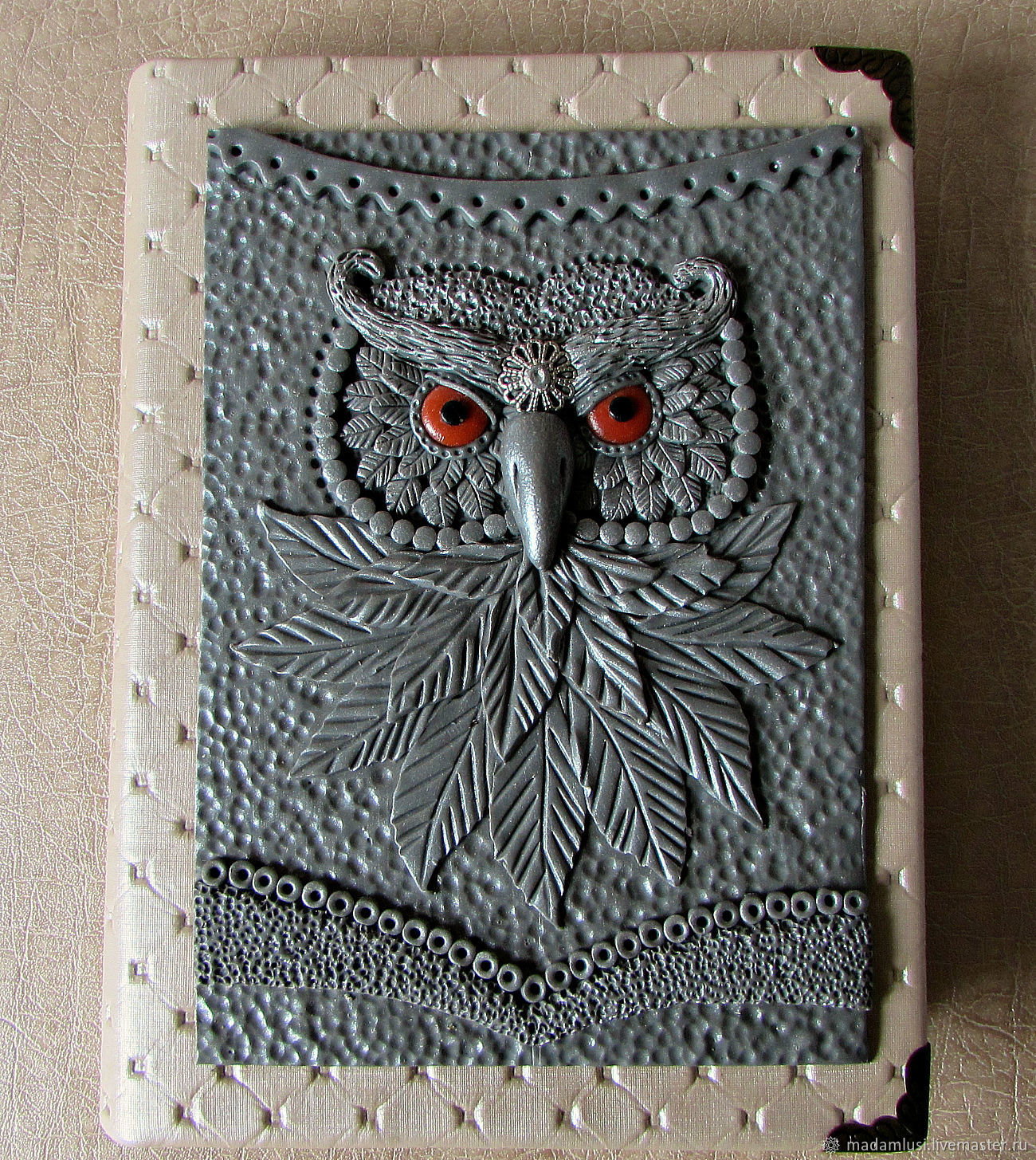 The notebook is made by hand from scratch with the Wise Owl. notebooks handmade. Notepad from scratch. Buy Notebook A6 handmade. Handmade.