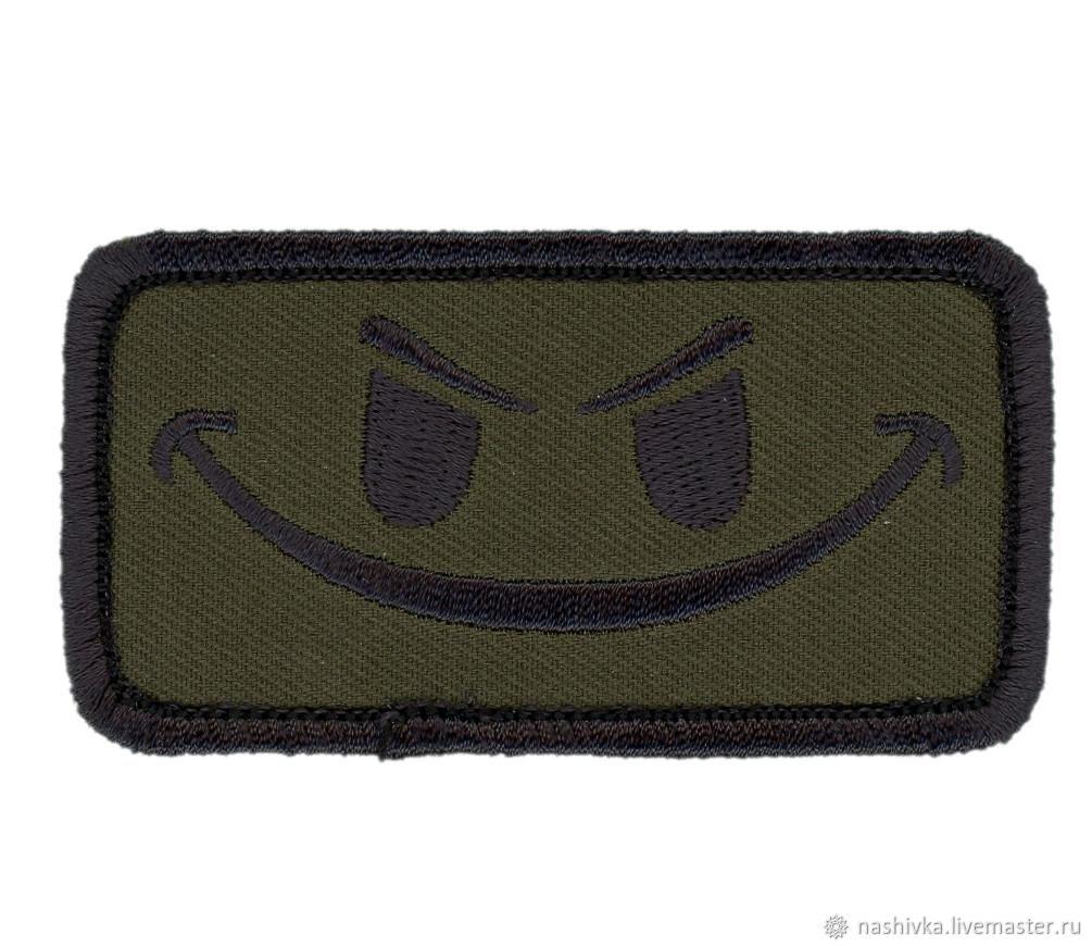 Velcro Camo Green Evil Smiley Tactical Morale Gear Patch, Аппликации, Москва,  Фото №1