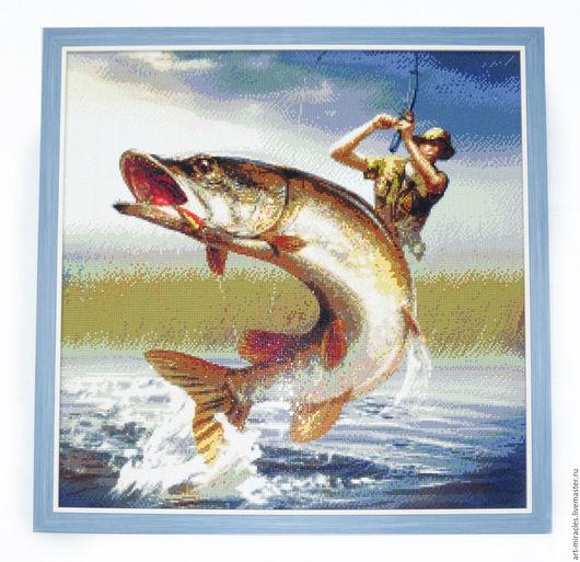 Люди, ручной работы. Ярмарка Мастеров - ручная работа. Купить Рыбалка (Щука). Handmade. Рыбалка, алмазная мозаика
