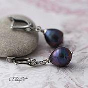 Украшения handmade. Livemaster - original item silver plated earrings with natural pearls