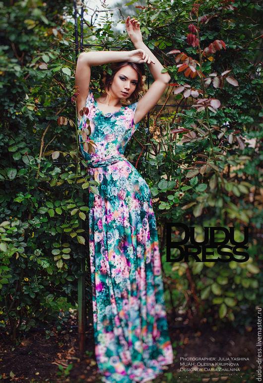 Платья ручной работы. Ярмарка Мастеров - ручная работа. Купить Цветочное платье с вырезом на спине. Handmade. Разноцветный, цветы, floral