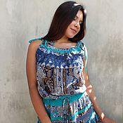 Одежда handmade. Livemaster - original item Boho crochet dress with turquoise ornament.. Handmade.