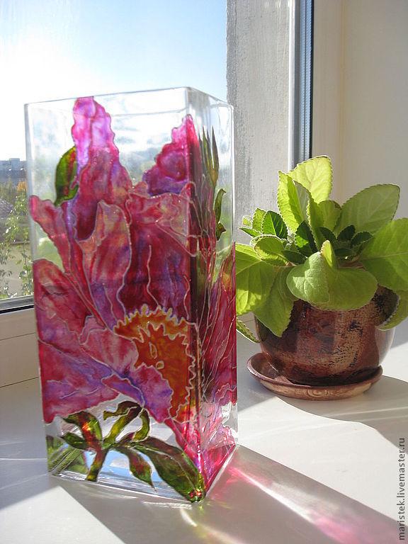 Ваза витражная стеклянная четырехугольная большой пион, Вазы, Тюмень,  Фото №1