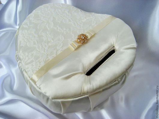 Свадебные аксессуары ручной работы. Ярмарка Мастеров - ручная работа. Купить Сундук для пожеланий в форме сердца. Handmade. Бежевый