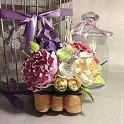 Цветы и флористика ручной работы. Ярмарка Мастеров - ручная работа Букет из полимерной глины c  сиреневой гортензией. Handmade.