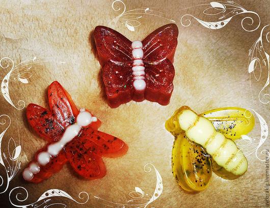 Мыло ручной работы. Ярмарка Мастеров - ручная работа. Купить Бабочка, пчела, стрекоза.. Handmade. Бабочка, крылья, сувенирное мыло