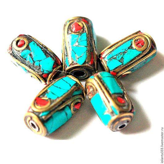 Для украшений ручной работы. Ярмарка Мастеров - ручная работа. Купить Непальские бусины с натуральной бирюзой, кораллом. Handmade. Бирюзовый