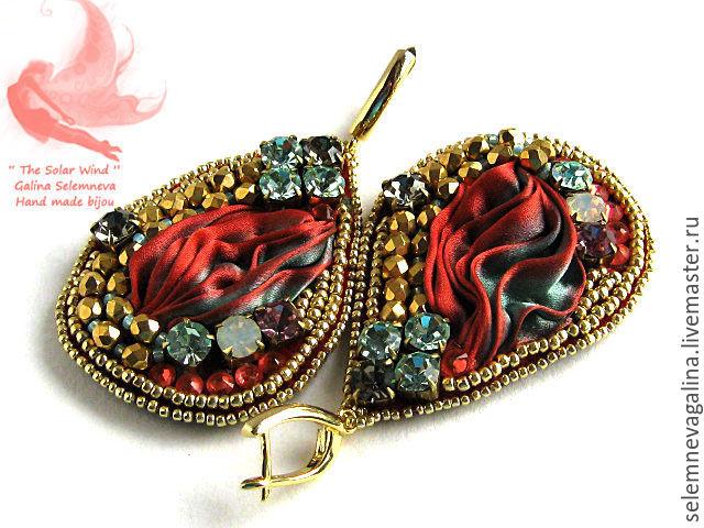 Earrings with Shibori silk ribbon 'Flamenco', Earrings, Sevastopol,  Фото №1