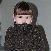 Работы для детей, ручной работы. Ярмарка Мастеров - ручная работа Коричневый жакет вязаный для девочки из твида. Handmade.