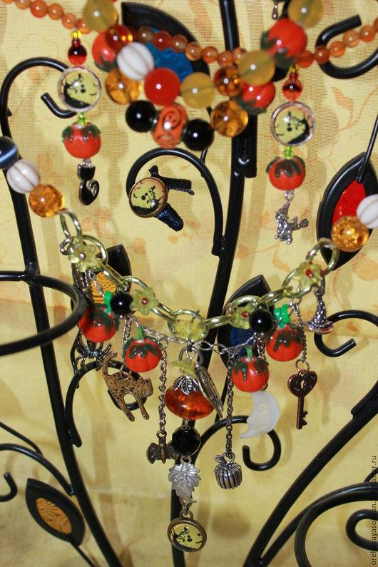 Комплекты украшений ручной работы. Ярмарка Мастеров - ручная работа. Купить Яркий Хэллоуин. Handmade. Осень, летучая мышь, оранжевый