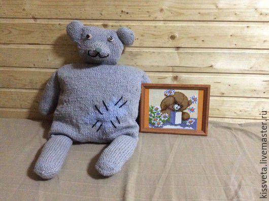 Детская ручной работы. Ярмарка Мастеров - ручная работа. Купить Игрушка-подушка Медведь. Handmade. Серый, подушка, детям