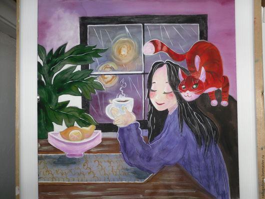 Люди, ручной работы. Ярмарка Мастеров - ручная работа. Купить Дождь за окном.. Handmade. Васильковый, рыжий, картина