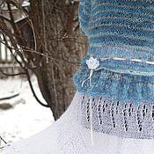 """Одежда ручной работы. Ярмарка Мастеров - ручная работа Пуловер вязаный """"Весеннее небо""""ручная работа голубой. Handmade."""