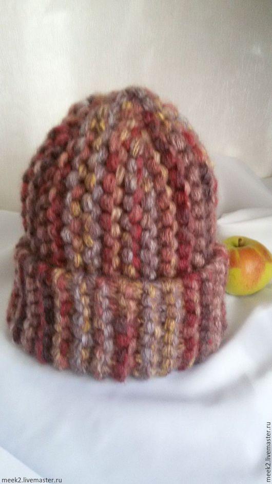 Шапки ручной работы. Ярмарка Мастеров - ручная работа. Купить Вязанная теплая шапка из толстой пряжи. Handmade. Комбинированный, шапка
