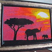 """Картины и панно ручной работы. Ярмарка Мастеров - ручная работа Картина из бисера """"Африка"""". Handmade."""