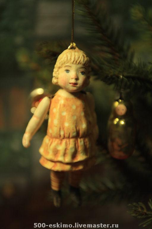 Новый год 2017 ручной работы. Ярмарка Мастеров - ручная работа. Купить Ёлочная игрушка маленькая девочка вариант. Handmade. Дети